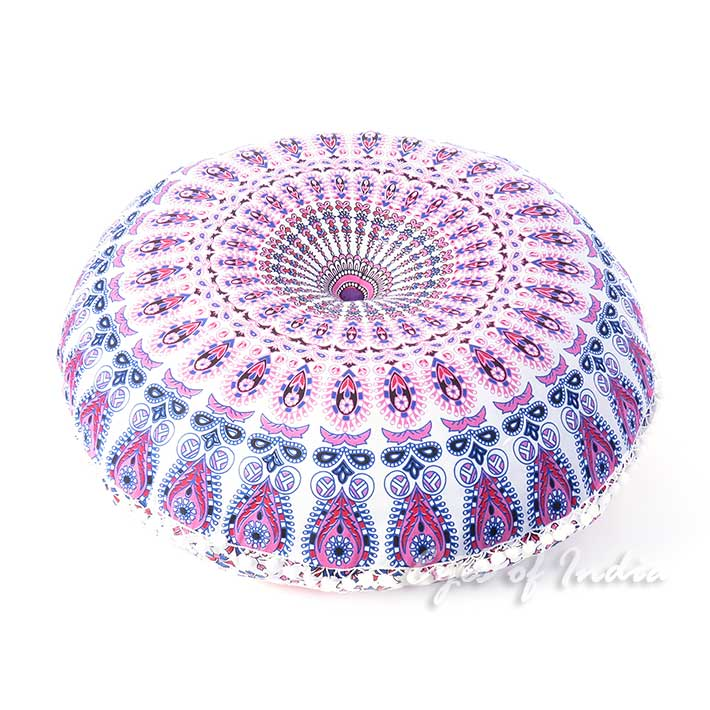 "White Bohemian Round Floor Seating Meditation Pillow Boho Cushion Cover Hippie Mandala Style Throw - 32"""