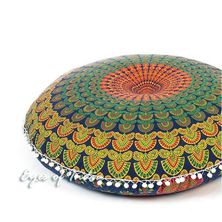 "Blue Yellow Green Mandala Round Floor Pillow Meditation Cushion Decorative Cover - 32"""