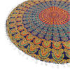 "Blue Yellow Green Mandala Round Floor Pillow Meditation Cushion Decorative Cover - 32"" 5"