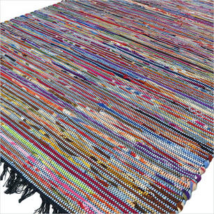 Colorful Blue Woven Decorative Bohemian Boho Chindi Area Rag Rug - 4 X 6 ft