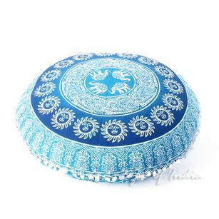 Decorative Seating Bohemian Boho Hippie Round Floor Pillow Meditation Cushion Cover Dog Bed Mandala - 32""