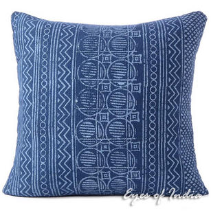 Indigo Blue Block Print Boho Bohemian Cushion Floor Couch Pillow Sofa Colorful Throw Cover - 20, 24""