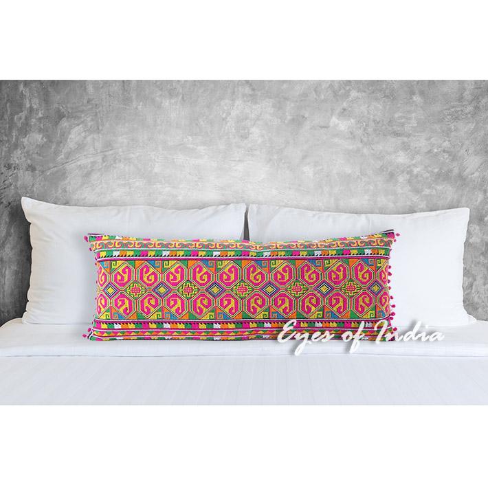 Pink Embroidered Colorful Lumbar Bolster Boho Sofa Throw