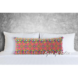 Pink Embroidered Colorful Lumbar Bolster Boho Sofa Throw Long Couch Pillow Cushion Cover - 14 X 32""