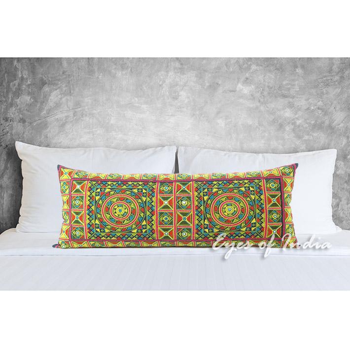 "Yellow Embroidered Decorative Lumbar Bolster Throw Long Pillow Cushion Boho Bohemian Cover - 14 X 32"""