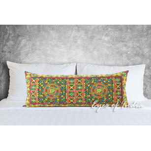 Yellow Embroidered Decorative Lumbar Bolster Throw Long Pillow Cushion Boho Bohemian Cover - 14 X 32""