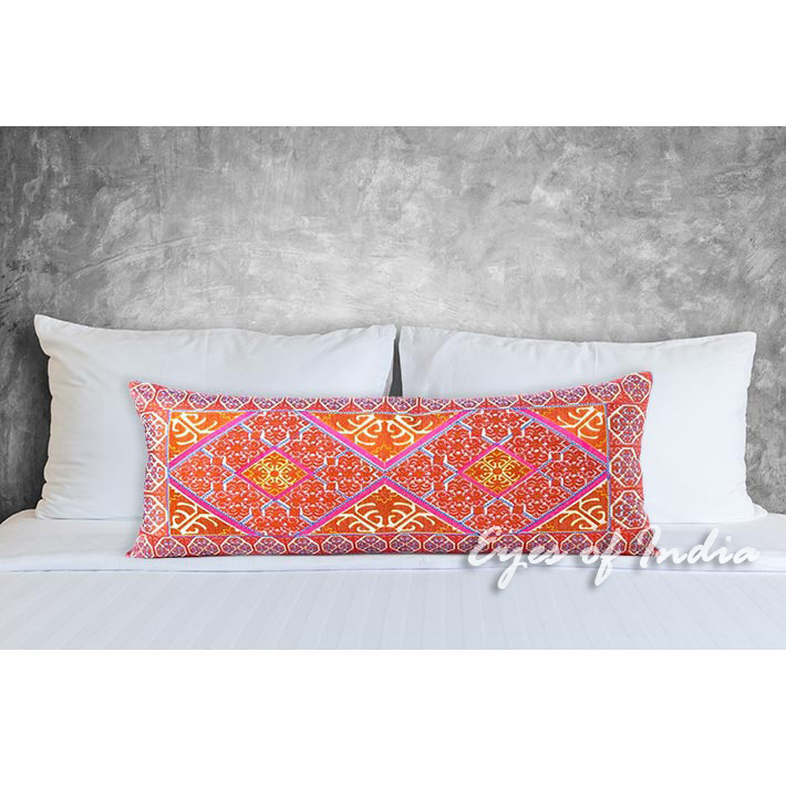 Long Decorative Lumbar Pillow : Orange Embroidered Boho Moroccan Bohemian Bolster Long Lumbar Pillow Cushion Cover - 14 X 32 ...