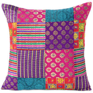Colorful Brocade Vintage Kantha Throw Sofa Boho Bohemian Couch Cushion Pillow Cover - 16, 24""