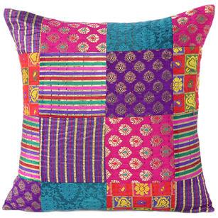 "Colorful Brocade Vintage Kantha Throw Sofa Boho Bohemian Couch Cushion Pillow Cover - 16, 24"""