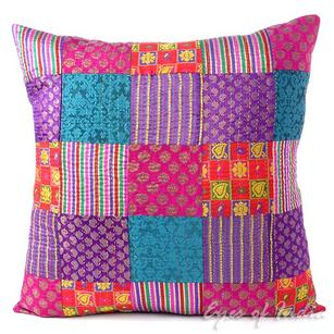Colorful Brocade Kantha Throw Sofa Boho Bohemian Couch Cushion Pillow Cover - 16, 24""