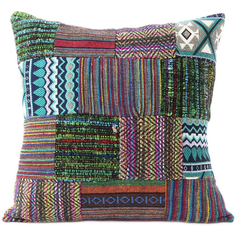 Purple Dhurrie Patchwork Colorful Decorative Bohemian Sofa Throw Boho Cushion Couch Pillow Cover - 16""
