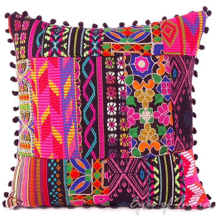 Sentinel Pink Black Dhurrie Patchwork Decorative Throw Boho Cushion Pillow  Cover - 16, 24