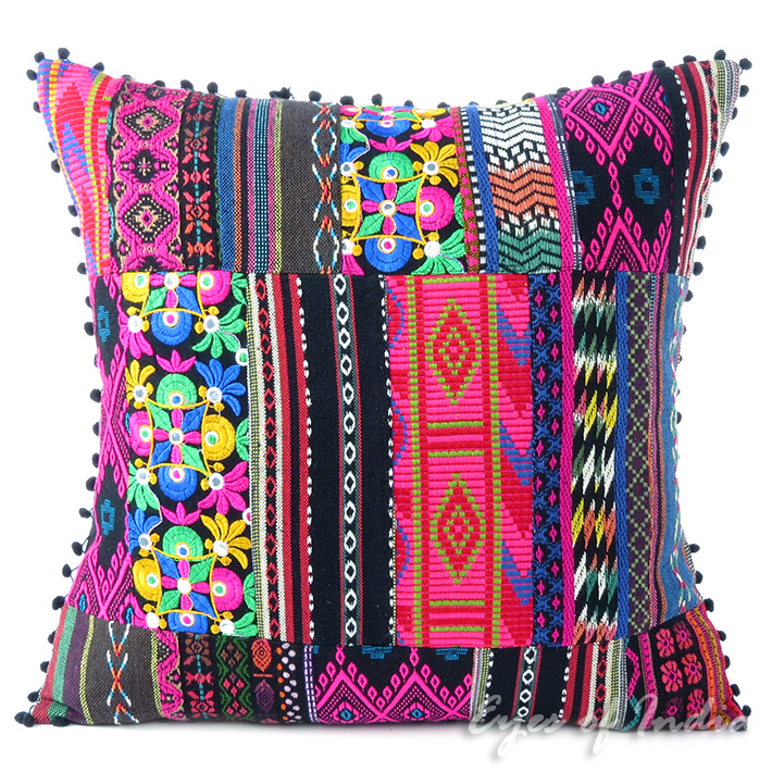 Pink Black Dhurrie Patchwork Colorful Decorative Sofa Throw Boho Cushion Couch Pillow Cover - 16, 24""