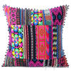 "Pink Black Dhurrie Patchwork Colorful Decorative Sofa Throw Boho Cushion Couch Pillow Cover - 16, 24"" 1"