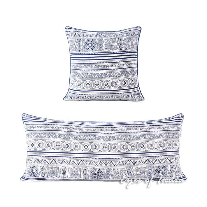 "Indigo Blue Cream Hmong Bohemian Boho Pillow Cover Cushion Colorful Throw - 16, 14 X 32"""