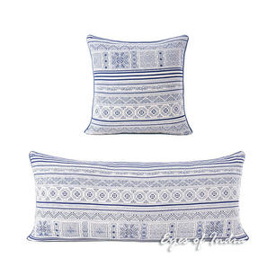 Indigo Blue Cream Hmong Bohemian Boho Pillow Cover Cushion Colorful Throw - 16, 14 X 32""