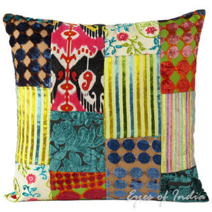 Colorful Velvet Decorative Throw Sofa Bohemian Boho Pillow Cushion Cover - 16, 24""