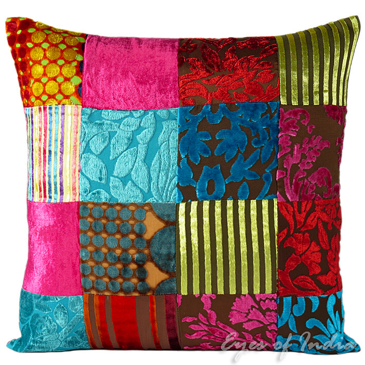 "Colorful Velvet Decorative Throw Bohemian Boho Sofa Couch Pillow Cushion Cover - 16, 20"", 24"""