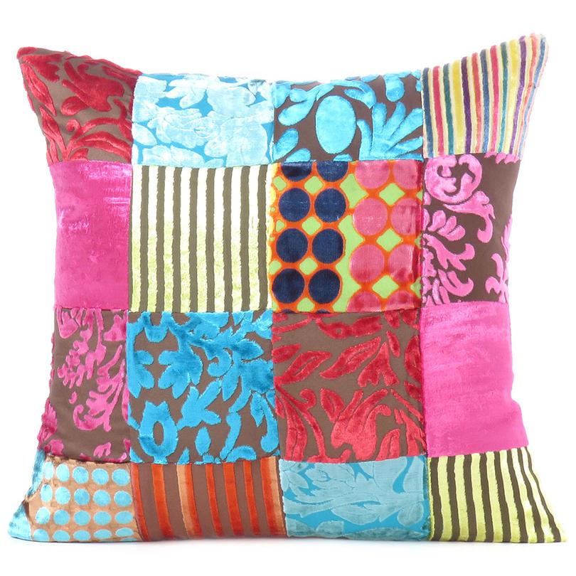 "Colorful Velvet Decorative Throw Bohemian Boho Sofa Couch Pillow Cushion Cover - 16, 20"", 24"""