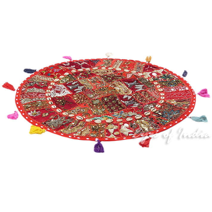 28-034-Red-Patchwork-Floor-Cushion-Seating-Pillow-Throw-Cover-Bohemian-Accent-India thumbnail 24