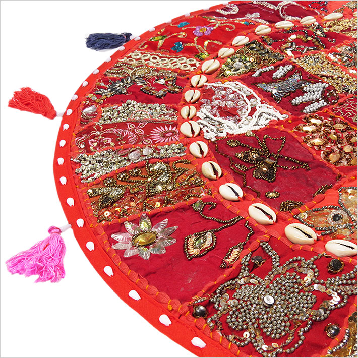 28-034-Red-Patchwork-Floor-Cushion-Seating-Pillow-Throw-Cover-Bohemian-Accent-India thumbnail 25