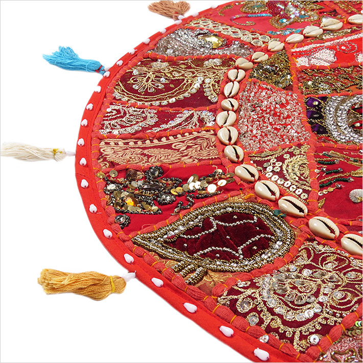 28-034-Red-Patchwork-Floor-Cushion-Seating-Pillow-Throw-Cover-Bohemian-Accent-India thumbnail 29