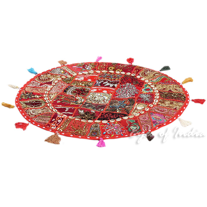 28-034-Red-Patchwork-Floor-Cushion-Seating-Pillow-Throw-Cover-Bohemian-Accent-India thumbnail 30