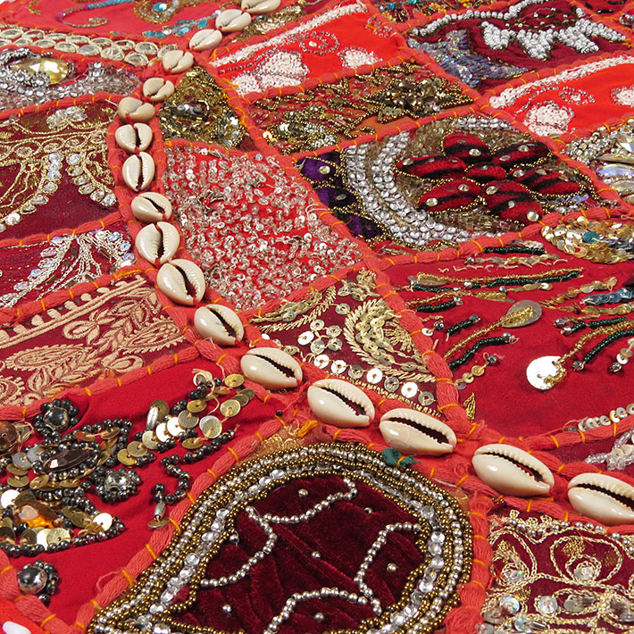 28-034-Red-Patchwork-Floor-Cushion-Seating-Pillow-Throw-Cover-Bohemian-Accent-India thumbnail 31