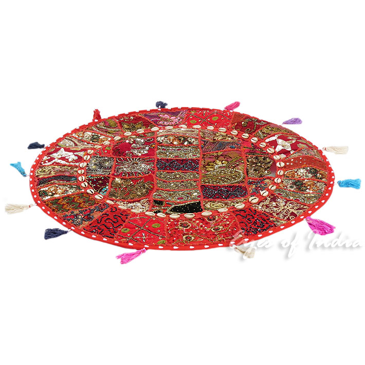 28-034-Red-Patchwork-Floor-Cushion-Seating-Pillow-Throw-Cover-Bohemian-Accent-India thumbnail 34