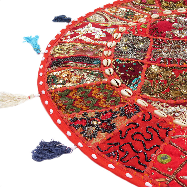 28-034-Red-Patchwork-Floor-Cushion-Seating-Pillow-Throw-Cover-Bohemian-Accent-India thumbnail 35