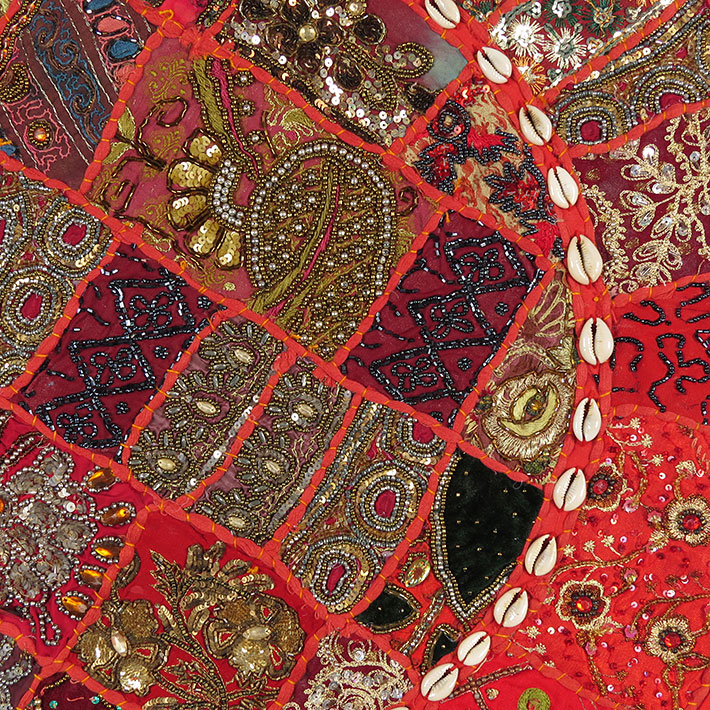 28-034-Red-Patchwork-Floor-Cushion-Seating-Pillow-Throw-Cover-Bohemian-Accent-India thumbnail 36