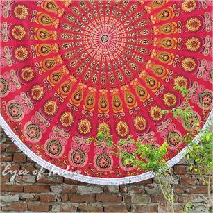 Roundie Beach Picnic Spread Mandala Hippie Tapestry Throw Boho Wall Hanging - 72""