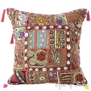 Brown Patchwork Sofa Throw Pillow Couch Boho Colorful Decorative Bohemian Cushion Cover - 16""