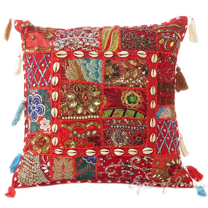 Red Patchwork Bohemian Boho Decorative Sofa Throw Pillow Couch Cushion Cover - 16""