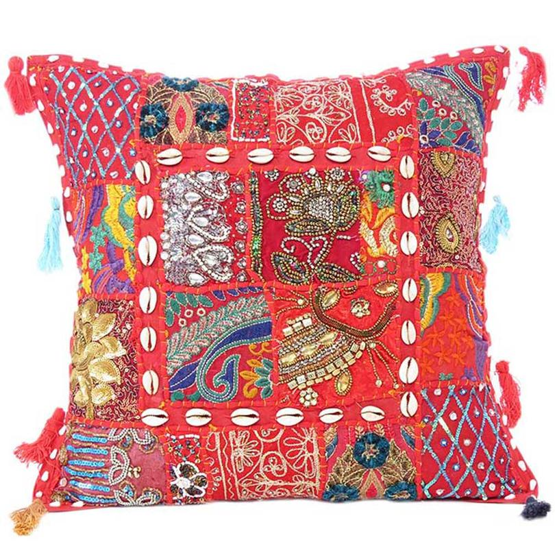 """Red Patchwork Bohemian Boho Colorful Decorative Sofa Throw Pillow Couch Cushion Cover - 16"""""""