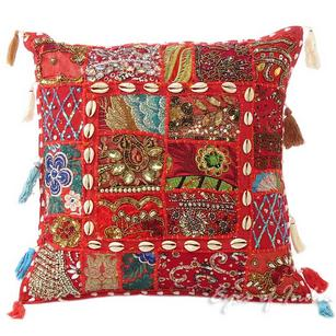 Red Patchwork Bohemian Boho Colorful Decorative Sofa Throw Pillow Couch Cushion Cover - 16""