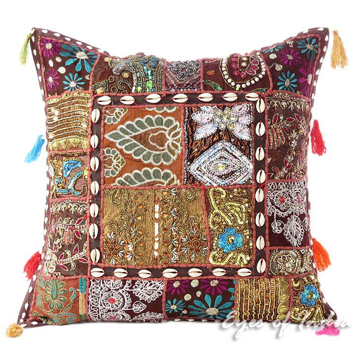 Brown Patchwork Sofa Boho Colorful Decorative Couch Bohemian Throw Pillow Cushion Cover - 20""