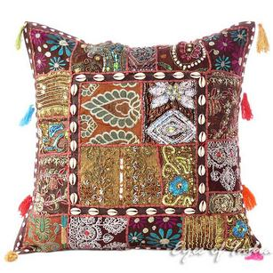 Brown Patchwork Sofa Boho Decorative Couch Bohemian Throw Pillow Cushion Cover - 20""