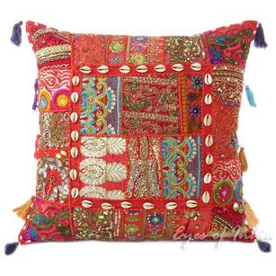 Red Patchwork Decorative Sofa Throw Pillow Bohemian Boho Couch Cushion Cover - 20""