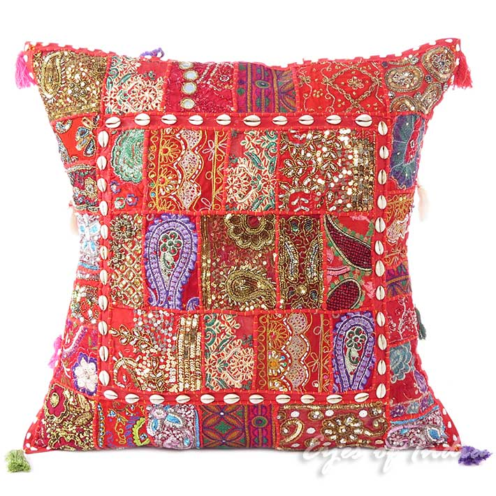 Red Colorful Decorative Patchwork Boho Throw Pillow Bohemian Couch Sofa Cushion Cover - 24""