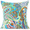 Kantha Paisley Decorative Bohemian Throw Pillow Boho Couch Cushion Cover - 16""