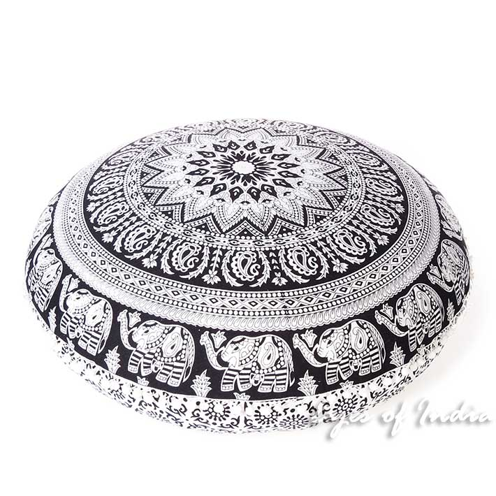 White Black Mandala Round Floor Meditation Pillow Hippie Dog Bed Decorative Seating Cushion Cover - 32""