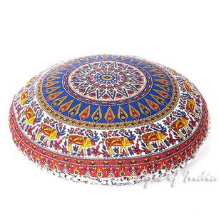 Blue Red Floor Pillow Meditation Cushion Cover Seating Round Colorful Decorative Mandala dog bed - 32""