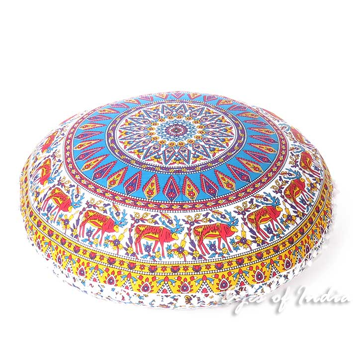 Blue Yellow Floor Pillow Cushion Cover Seating Round Colorful Decorative Mandala Sofa Meditation Throw - 32""