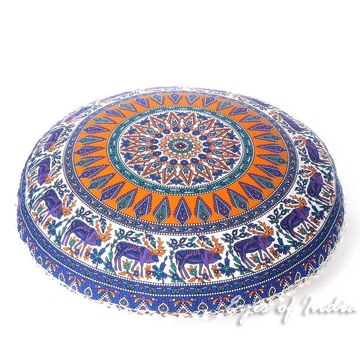 "Orange Blue Floor Pillow Cushion Cover Seating Round Colorful Decorative Mandala Sofa Meditation Throw - 32"""