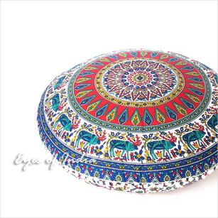 Blue Red Floor Pillow Cushion Cover Seating Round Colorful Decorative Mandala Sofa Meditation Throw - 32""