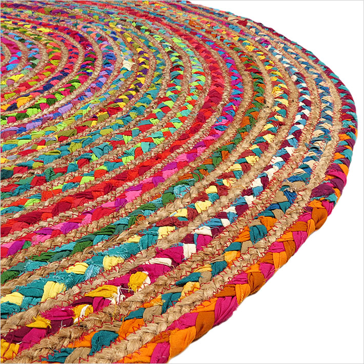 5 Ft Round Colorful Natural Jute Chindi Sisal Woven Area Braided Rug