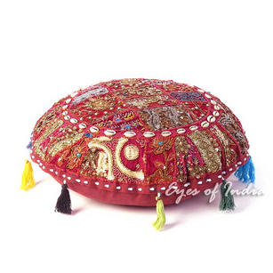 Burgundy Red Patchwork Meditation Cushion Bohemian Boho Seating Round Colorful Floor Pillow Cover- 22""