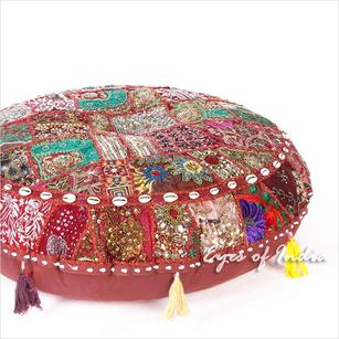 Round Burgundy Red Patchwork Bohemian Boho Decorative Seating Meditation Cushion Floor Pillow Cover - 28""