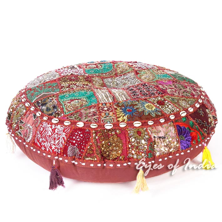 Round Burgundy Red Bohemian Boho Decorative Seating Patchwork Floor Meditation Pillow Cover Cushion - 32""